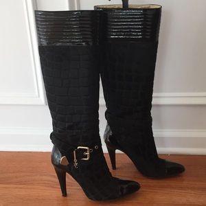 Versace Black Calf Fur High Heel Boots size 8